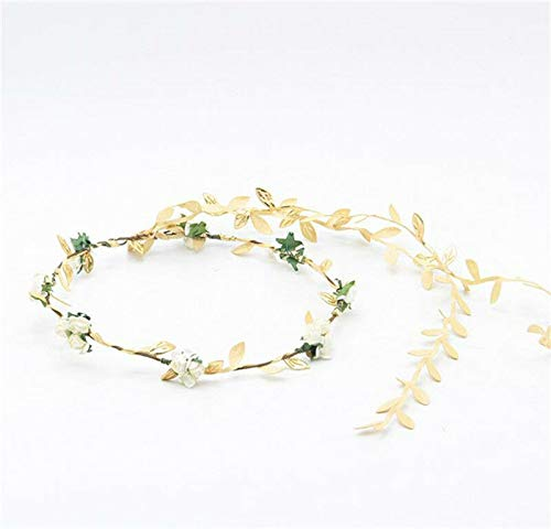 - Boho Golden Leaf Wedding Garland Hair Band Flower Headband Headpiece Head band (Color - beige)