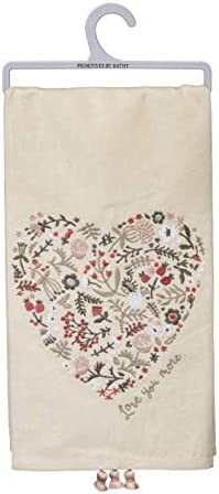 """Primitives by Kathy Love You More Heart Dish Towel 28"""" x 28"""""""