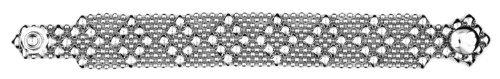 Sergio Gutierrez Liquid Metal Nickel Small Diamond Pattern Bracelet Silver-Tone