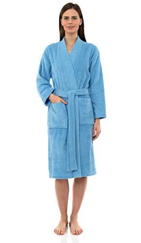 - TowelSelections Women's Robe Turkish Cotton Terry Kimono Bathrobe Medium/Large Blue Grotto