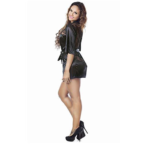 Zyalex - Lingerie Érotique Pour Les Femmes Satin Noir Sexy Vêtements De Nuit Transparente Chemise De Nuit Porno Nuisette Sous-vêtements Sexy Robe Dentelle Lingerie [xl] L