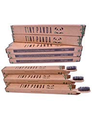 Family Pack of 10 Charcoal Infused Bamboo Toothbrushes - Natural Whitening - Eco-friendly Biodegradable BPA Free Toothbrush Set - Vegan and Cruelty Free