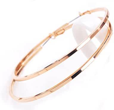 Women's Fashion Rose Gold Plated Big Round Hoop Earrings-2.75inch