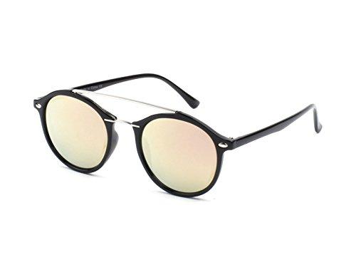 Cramilo E17 Modern Metal Browbar Round P3 Sunglasses (Black - Peach Green, - For Men Best Sunglasses Luxury