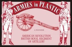 American Revolution British Royal Regiment of Artillery Crew (5) w/Cannon 1/32 Armies in Plastic ()