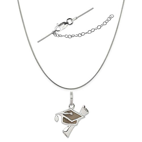 Sterling Silver Black Antiqued Graduation Cap and Diploma Charm on a Snake Chain, 18