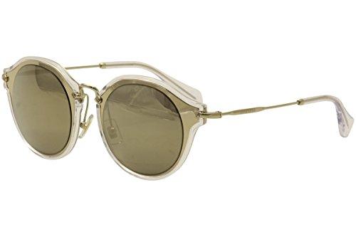 Miu Miu Women's 0MU 51SS Pale Gold/Light Brown Gold Mirror - Sunglasses Brand Name Best