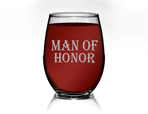 Man of Honor Glass Male Bridesmaid Glasses Stemless Wine Gift for Brides Man Wedding Party Glasses