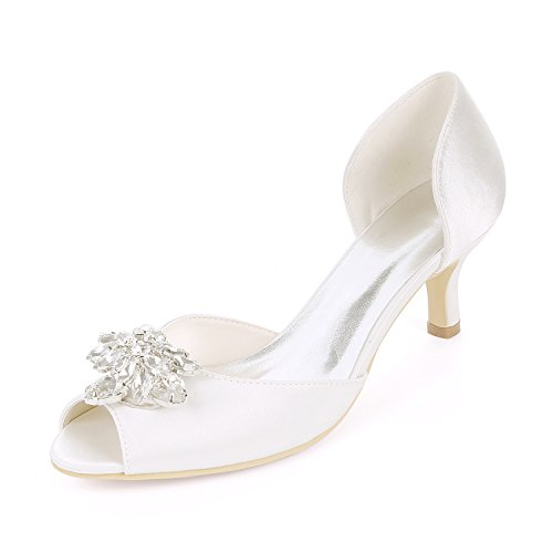 Flower-Ager Y1195-03K Mujeres Peep Toe Sandalias Piedras De Diamantes De Imitación Bombas Talones Medio Satén Wedding Party Court Shoes,White,UK4/EU37