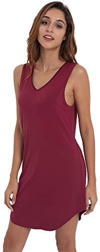 LazyCozy Women's Bamboo Nightgown Sleeveless Nightshirt Sleepwear, Wine, X Large