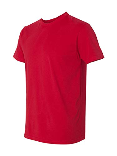 Next Level Apparel Men's Premium Fitted Sueded Crewneck T-Shirt, Red, Small