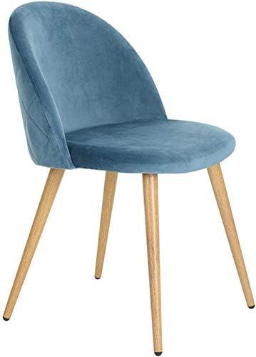 n/c Lot de 4 Rétro Chaises de Loisirs en Tissu de Velours Chaises de Salle à Manger Rembourrées avec des Jambes en Métal Style Bois pour la Maison Le Salon et Le Bureau (Bleu)