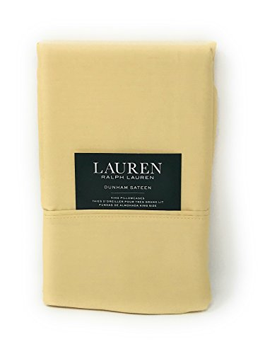 (Set of 2 Ralph Lauren Dunham Sateen King Size Pillowcases Italian Straw -300 Thread Count 100% Cotton-)