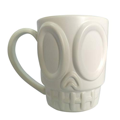 Prettyboy Ceramic 3D Personalized Unique Custom Design Porcelain Tea Cup Coffee Cup Mug with Tentacle (White Skull)
