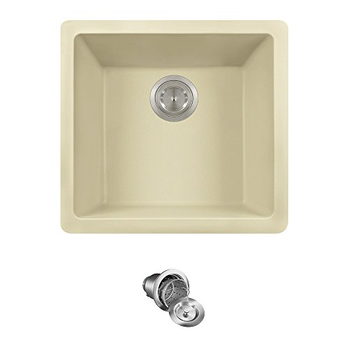805 Dual-mount Single Bowl Quartz Kitchen Sink, Beige, Basket Strainer