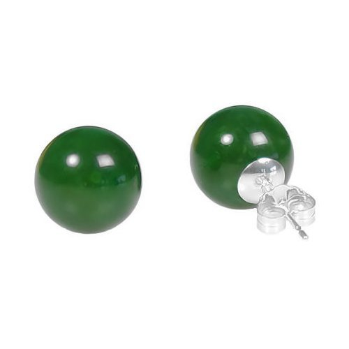 Trustmark 925 Sterling Silver 10mm Natural Nephrite Green Jade Ball Stud Post Earrings
