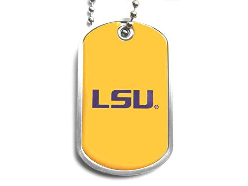 aminco LSU Tigers Dog Tag Domed Necklace Charm Chain Ncaa