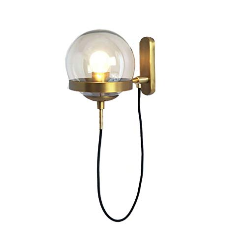 Modern Style Hotel Led Decorative Wall Lamp Lobby Simple Post Modern Retro American Restaurant Cognac Glass Ball Bronze Circle Wall Lamp