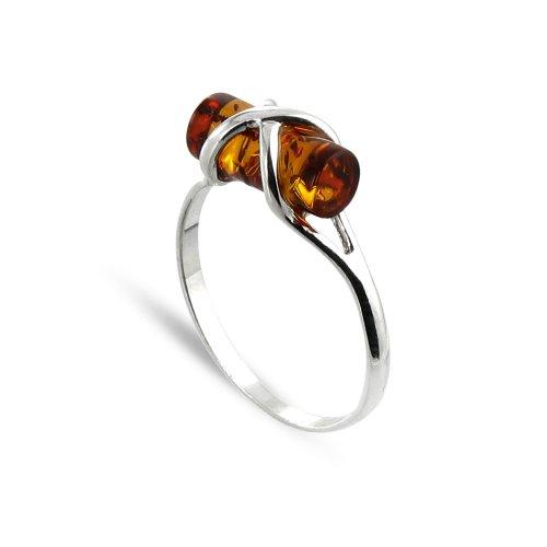 Tousmesbijoux Bague motif cylindrique Argent 925/00 et ambre véritable