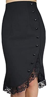 XS-28 Lacey Tulips - Black 40s 50s Retro Ruffle Solid Wiggle Pencil Skirt