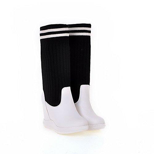 Allhqfashion Surtido De Materiales De Mezcla De Color Para Mujer High-heels Pull-on Round Botas De Punta Cerrada Blanco