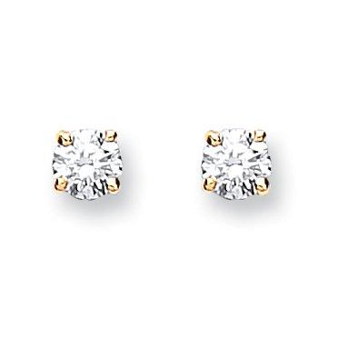 Jareeya-Solitaire Diamant Boucles d'oreille à tige, Or jaune 9ct, diamants 0.25CT