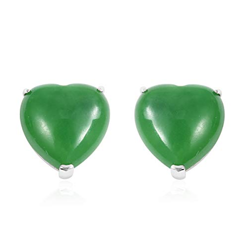 Solitaire Earrings 925 Sterling Silver Heart Dyed Color Green Jade Jewelry for Women