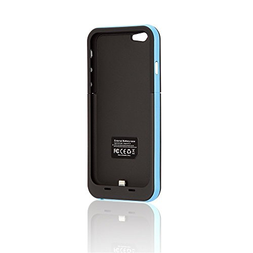 MUZE(TM)-for iphone 6 4.7 Inch External Battery Case, Backup Slim Portable Power Bank Charger Case Cover Rechargeable Battery Pack with Micro USB Cable. (1pcs) (Blue, 3800mAh)