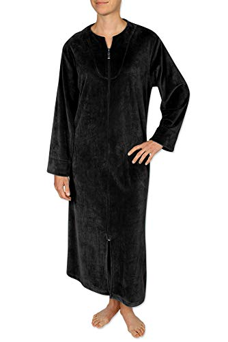 - Miss Elaine Women's Long Velvet Fleece Robe Long Sleeves, Breakaway Zipper a Round Neckline