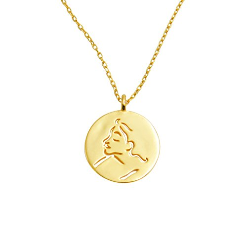 (yomee 925 Sterling Silver Gold Coin Abstract Mask Lucky Face Pendant Necklace)