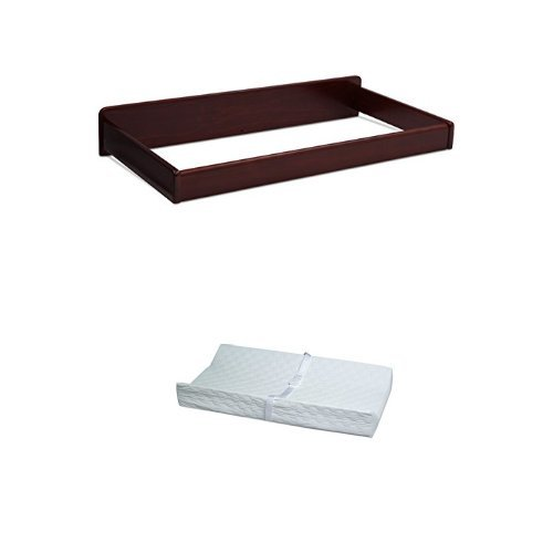 Delta Children Changing Kit, Espresso Cherry and Simmons Kids Beautyrest Beginnings 2-Sided Vinyl Contour Pad