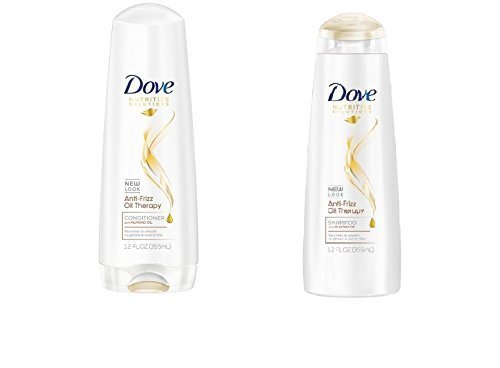 Dove Anti-Frizz Oil Therapy Shampoo and Conditioner Set, 12 Ounces (Anti Frizz Solutions)