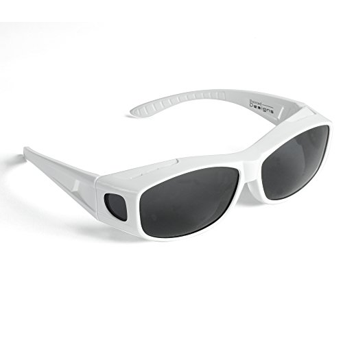 Over Glasses Sunglasses - Polarized Fitover Sunglasses with 100% UV Protection - By Pointed Designs- Style 1 - With Sides White Sunglasses