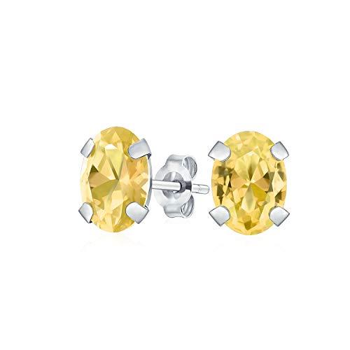 (1.6CT Oval Shaped Yellow Gemstone Citrine Stud Earrings For Women Real 14K White Gold 7X5MM November)