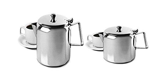 King International Restaurant Stainless Steel 500 ml & 1000 ml Teapot Water Kettle Pitcher Coffee Pot Handle - Mirror Finish by King International