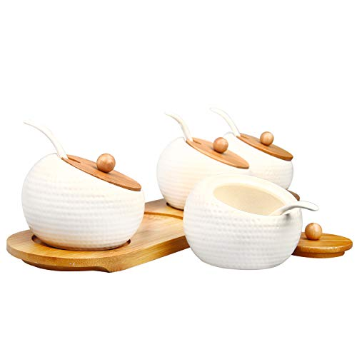 RUCKAE Ceramic Condiment Jar Spice Container with Bamboo Lid,Porcelain Spoon,Wooden Tray,Set of 4 ,White,170ML(5.8 OZ),Perfect Spice Storage for Home,Kitchen,Counter