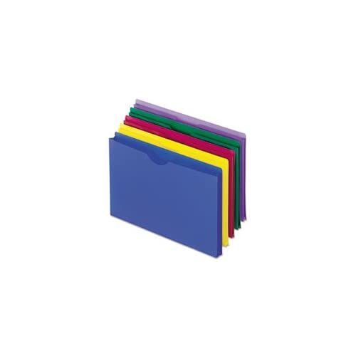 * Expanding File Jackets, Legal, Poly, Blue/Green/Purple/Red/Yellow, 5/Pack