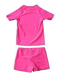 Aleumdr - Conjunto de camisa y bañador de dos piezas para niñas pequeñas, diseño de flamenco rosa