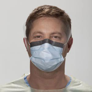 Halyard Health 00146 Fluidshield Fog-Free Procedure Mask, Level 3, Wraparound Visor, Blue (4 Boxes of 25, 100 Total)