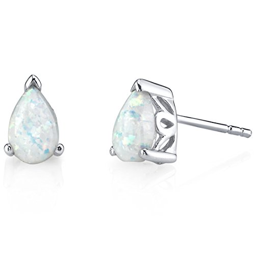 Sterling Silver 1.50 Carats Pear Shape Created Opal Stud Earrings