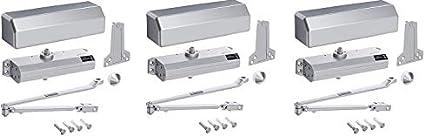 Sprayed Aluminum Finish Hager 5300 Series Aluminum Grade 1 Heavy Duty Surface Door Closer 1 Multi-Mount 6 Adjustable Spring Size 3