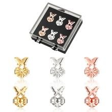 Luna Aurora Earring Lifters - 3 Pairs of Adjustable Hypoallergenic Earring Lifts (1 pair Gold, 1 pair Silver, 1 pair Rose Gold) Butterfly set - BONUS Display Case - Safe Locking Post Earring Backs (Butterfly Cards Flat)