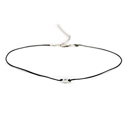 Boosic Imitation Pearl Bead Black Cord Choker Handmade Jewelry For Women
