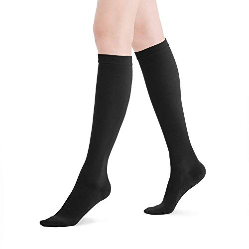 Fytto 2120 Closed-Toe Women's Compression Socks, 20-30 mmHg Graduated Support – Firm Medical Hosiery for Varicose Veins, Lymphedema, and DVT, Knee High, Black, Medium
