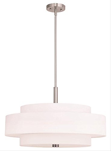 Pendants Porch 5 Light With Off-White Fabric Hardback Shade Steel Brushed Nickel 24 in 300 W - World of Crystal