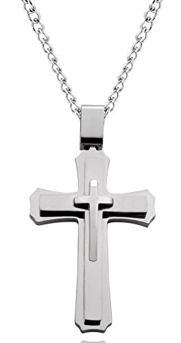 Large Stainless Cross Steel - Men's Cross Necklace with 24 Inch Curb Chain, Large Pendant (Silver Tone)