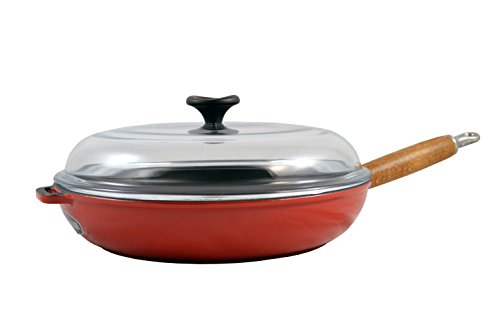 (World Cuisine 11 inch diameter cast-iron frying pan with wooden handle and glass lid. The pan's interior is black with an exterior of red.)