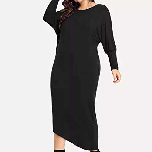 Mujer Negro Vestido Grand Sylar De Tamaño De Falda Cuello Gran De PoliéSter De Redondo Casual Tamaño De Color Manga Sólido Larga Redondo Cwx15fqx