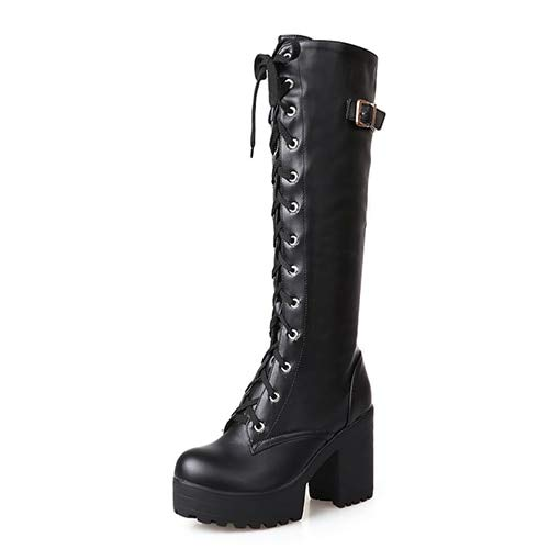 889b24885e06c Amazon.com: DingXiong Hot 2018 Autumn Lacing Knee High Boots Women ...