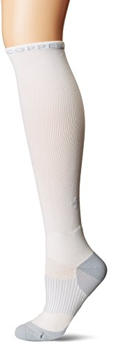 Tommie Copper Womens Performance Compression Over The Calf Socks, White w/Grey 7-9.5